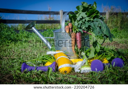 Healthy raw vegetables, weights & measuring tape - stock photo