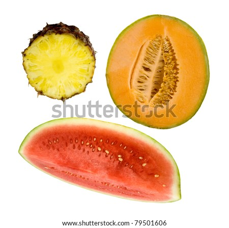 healthy refreshing fruit- pineapple, cantaloupe and watermelon on a white background - stock photo