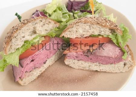 Healthy Roast Beef Sandwich on Multi Grain Roll - stock photo