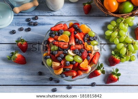 Healthy salad made �¢??�¢??of fresh fruits - stock photo