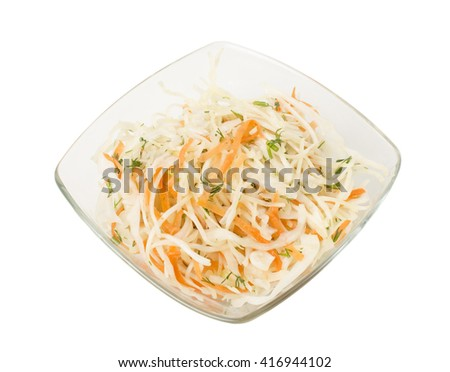 Healthy salad with carrot and cabbage. Isolated on a white background. - stock photo