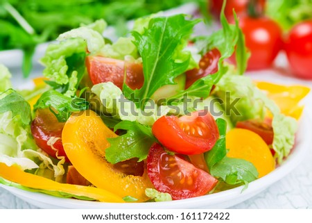 Healthy salad with fresh vegetables in a white plate - stock photo