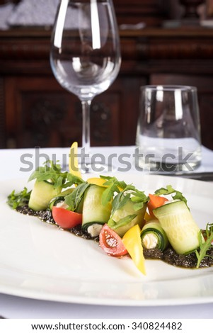Healthy salad with fresh vegetables. restaurant meals