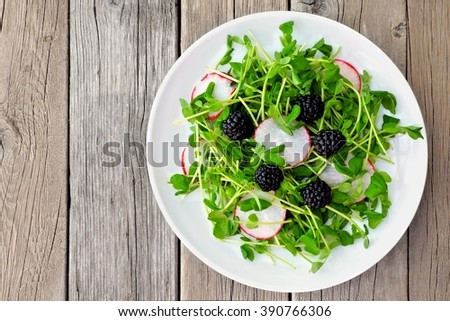 Healthy salad with pea shoots, radishes and blackberries on white plate against a rustic wood background - stock photo