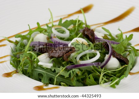 Healthy salad with rocket lettuce, mozzarella cheese, sun-dried tomatoes and onions. - stock photo