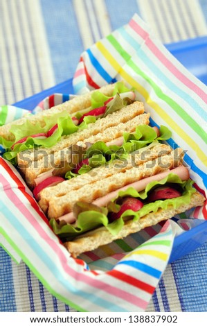 Healthy Sandwich in a lunch box - stock photo