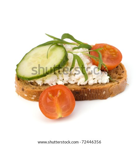 healthy sandwich isolated on white background - stock photo