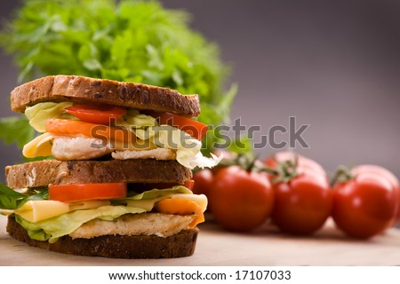 Healthy sandwich made with whole grain bread, chicken, tomato and cheese. - stock photo