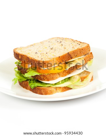 healthy sandwich served on white plate