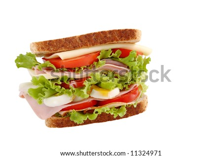 healthy sandwich with clipping path - stock photo