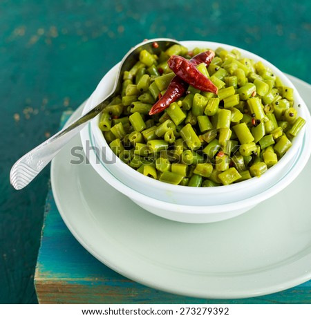 Healthy Sauteed Green Beans ready to be served  - stock photo