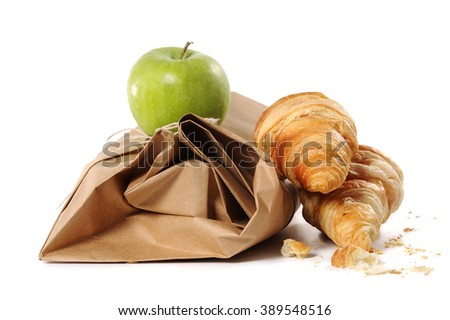 healthy school lunch with paper bag - stock photo