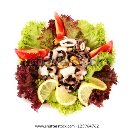 Healthy Seafood Salad with shrimps,octopus and mussels,squids isolated on white - stock photo