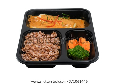 Healthy set meal in a plastic box with clipping path
