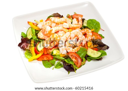healthy, simple prawn salad isolated - stock photo