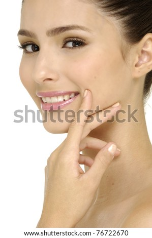 healthy skin on a face - stock photo