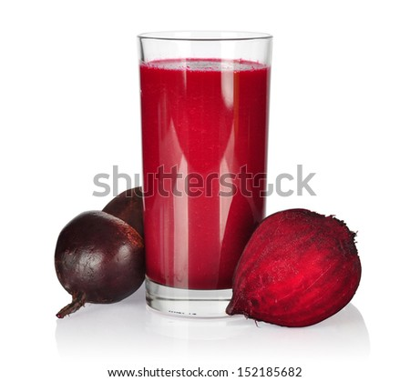 Healthy Smoothie with beet root and apple isolated on wooden background - stock photo