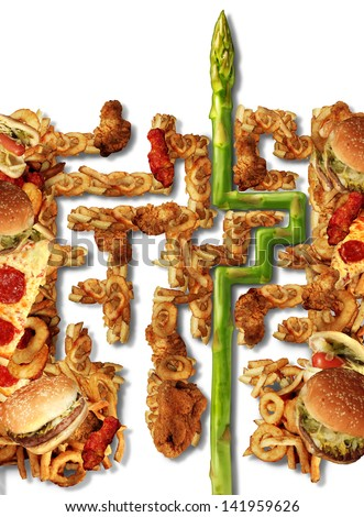 Healthy Solutions and health choice nutrition concept as a group of greasy junk food in the shape of a maze or labyrinth and an asparagus finding the answer to diet challenges on a white background. - stock photo