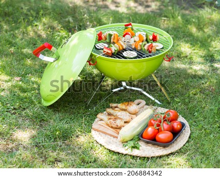 Healthy summer meal. Garden party with grilled food.