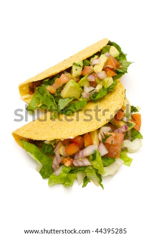healthy tacos on white - stock photo