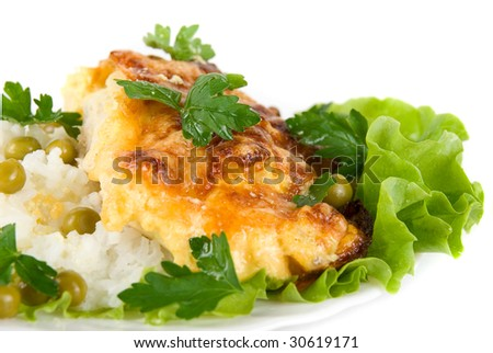 Healthy Tasty Chicken baked with pineapple, cheese dish with rice, vegetables garnish - stock photo