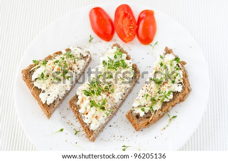 healthy tasty organic granary bread with cream cheese