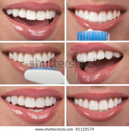 Healthy teeth dentistry collage - stock photo