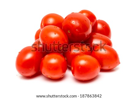 Healthy Tomato Pile Isolated On White - stock photo