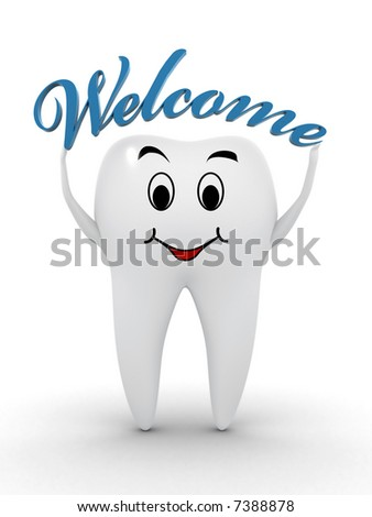 Healthy tooth holding a welcome text