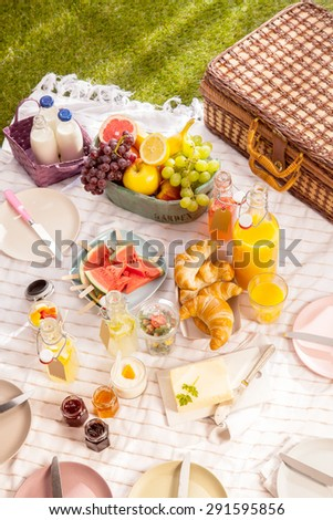 Healthy tropical summer picnic with fresh organic fruit, milk, fruit juice, croissants, butter, jam empty plates and a hamper laid out on a blanket on the grass - stock photo