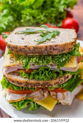 Healthy Turkey Breast, Ham, Cheese and Vegetables Sandwich  - stock photo
