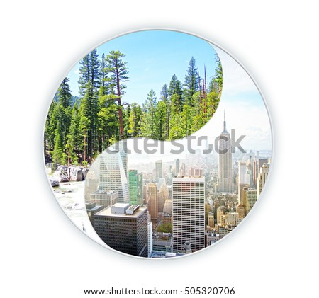 Healthy urbanization project on white background