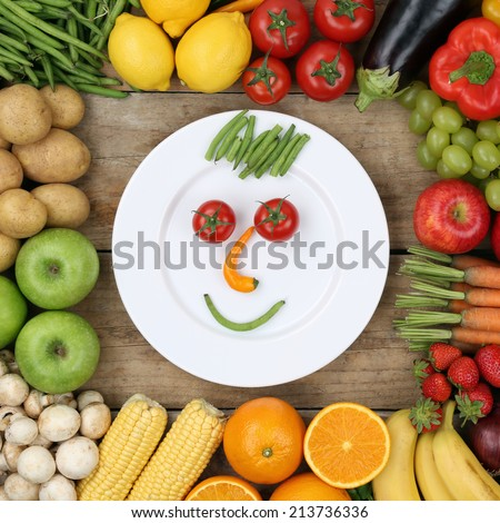 Healthy vegan eating smiling face from vegetables and fruits on plate - stock photo