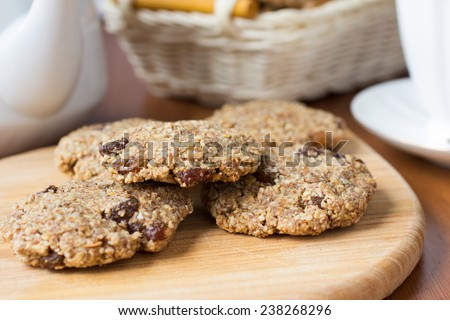 Healthy vegan oatmeal cookies with peanuts and peanut butter - stock photo