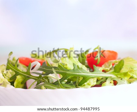 Healthy vegetable salad with lettuce, spring onion, rocket salad, tomatoes and radish