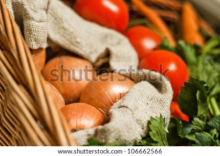 Healthy vegetables in basket - stock photo