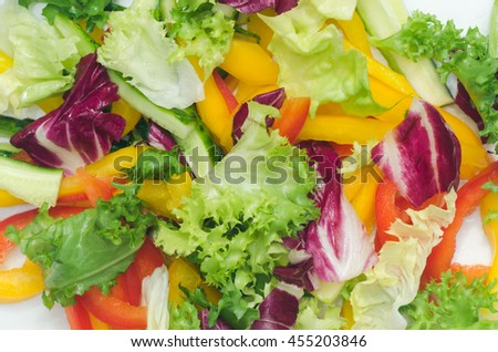 healthy vegetables salad with lettuce and pepper