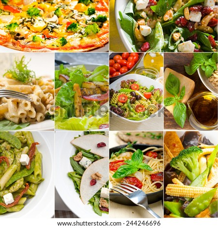 healthy vegetarian pasta soup salad pizza Italian food staples collage - stock photo