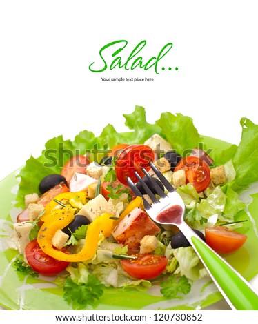 Healthy vegetarian salad isolated - stock photo