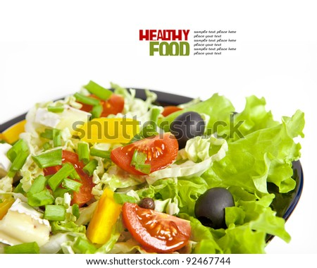 Healthy vegetarian salad isolated on white - stock photo