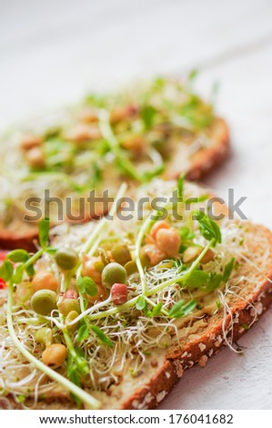 Healthy vegetarian sandwich with whole grain bread,alfalfa,hummus - stock photo