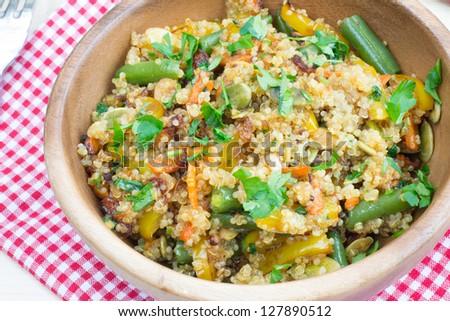 Healthy vegetarian stir-fry with quinoa - stock photo