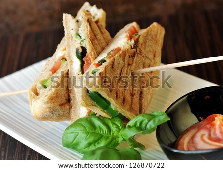 Healthy veggie panini sandwiches, Freshly grilled panini with olives, basil leaves, fresh red and green peppers, tomatoes, and mozzarella cheese served on ciabatta bread with cream ketchup sauce - stock photo