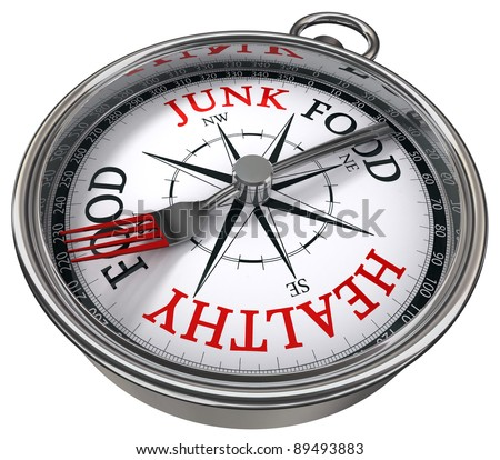 healthy versus junk food concept compass with black red letters isolated on white background - stock photo