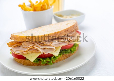 Healthy Wafer Thin Roast Turkey Breast, Cheese, Fresh Tomato and Lettuce Sandwich - stock photo