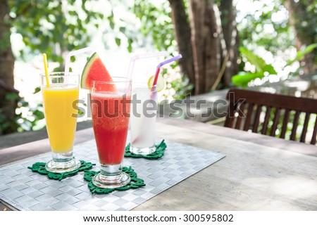 Healthy watermelon smoothie - stock photo