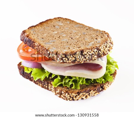 Healthy whole grain bread sandwich with ham