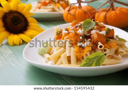 Healthy whole grain Penne (tube-shaped) pasta with pumpkin, goat cheese, sage, and pine nuts.  - stock photo