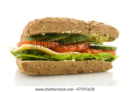 Healthy whole meal cheese sandwich with vegetables - stock photo
