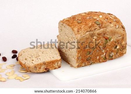 healthy whole wheat bread full and sliced